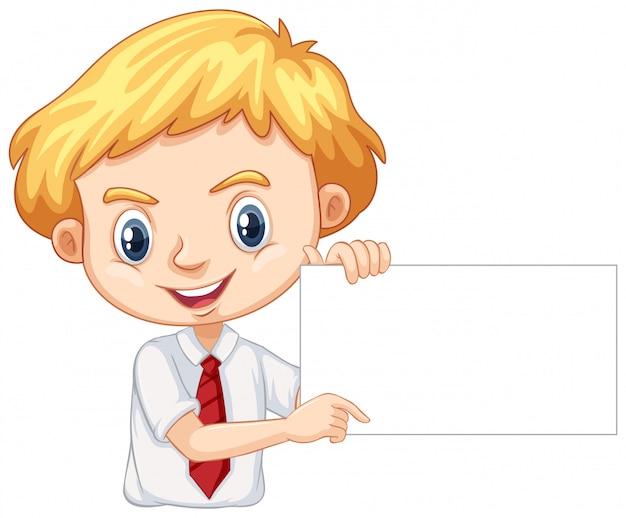 Un ragazzo felice con bordo bianco