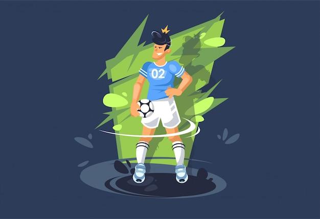 Un ragazzo gioca a calcio. un giocatore di football gioca con una palla. ragazzo atletico.