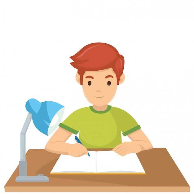 Un ragazzo impara prima dell'esame domani