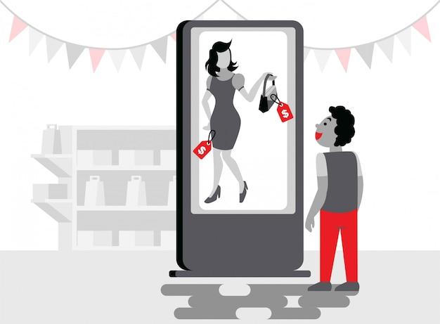 Un ragazzo in piedi davanti allo schermo del chiosco per vedere un'illustrazione piatta del prodotto