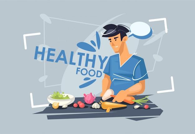 Un ragazzo sta preparando il pranzo. dieta sana. cibo vegetariano sano.