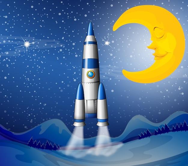 Un razzo che va verso il cielo con una luna addormentata