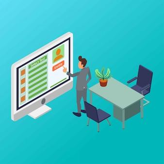 Un responsabile delle risorse umane è invitato candidato dei dipendenti a prendere l'illustrazione isometrica di prova