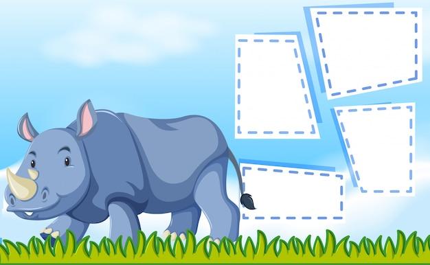 Un rinoceronte sul modello di nota