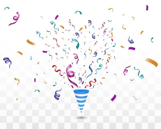 Un sacco di piccoli coriandoli colorati e nastri su sfondo trasparente. evento festivo e festa. sfondo multicolore coriandoli luminosi colorati su sfondo trasparente