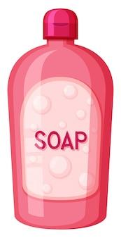 Un sapone contenitore rosa su sfondo bianco
