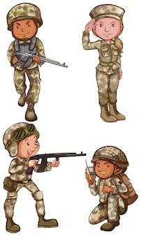 Un semplice disegno dei quattro coraggiosi soldati su uno sfondo bianco