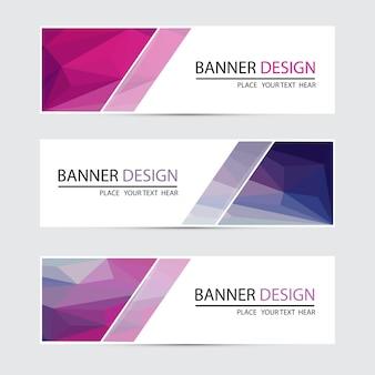 Un set di banner vettoriale con sfondo poligonale