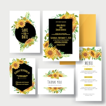 Un set di bellissimi inviti di nozze giallo girasole
