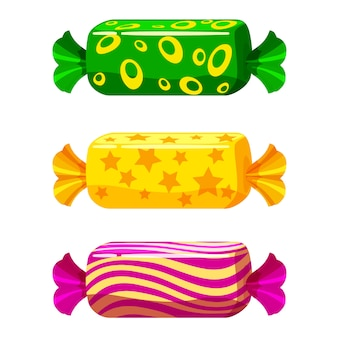 Un set di caramelle dolci in un pacchetto di diversi colori