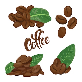 Un set di chicchi di caffè. una collezione di chicchi di caffè in diverse varianti.