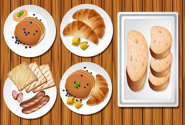 Un set di colazione sul tavolo di legno