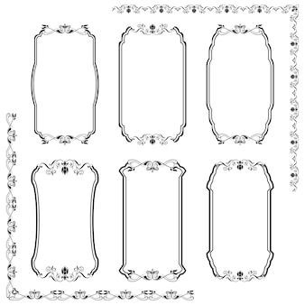 Un set di cornici modello di forme diverse.