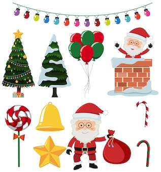 Un set di elementi natalizi
