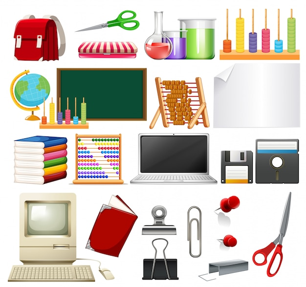 Un set di elementi scolastici
