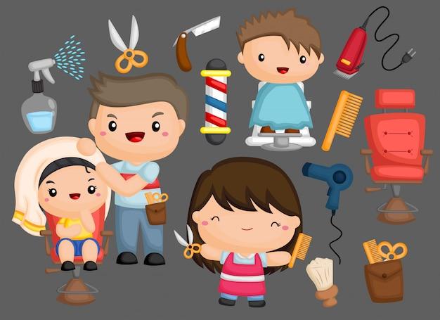 Un set di icone a tema carino barbiere