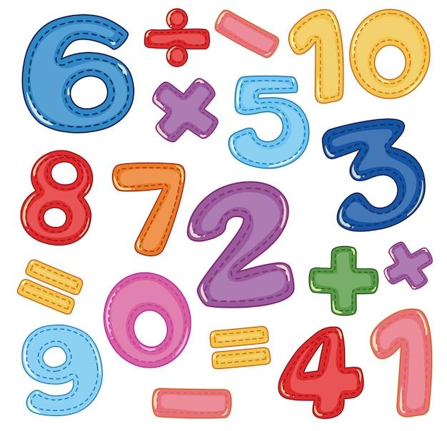 Un set di icone numeriche e matematiche