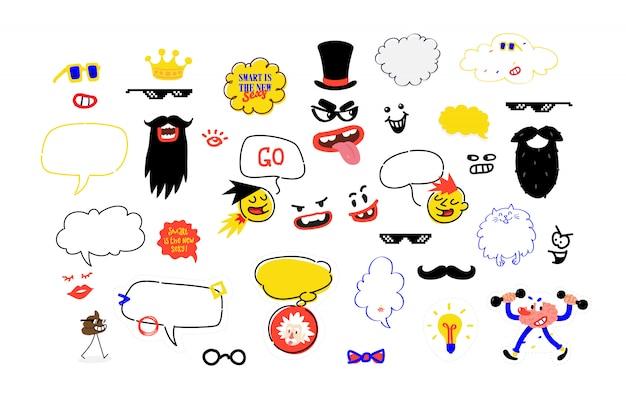 Un set di maschere per feste. una finta illustrazione dei baffi, degli occhiali e degli accessori per la festa. illustrazione vettoriale