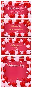 Un set di modello di carta di invito di san valentino con bordo di cuori