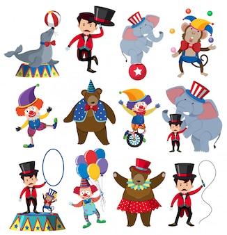 Un set di personaggi da circo