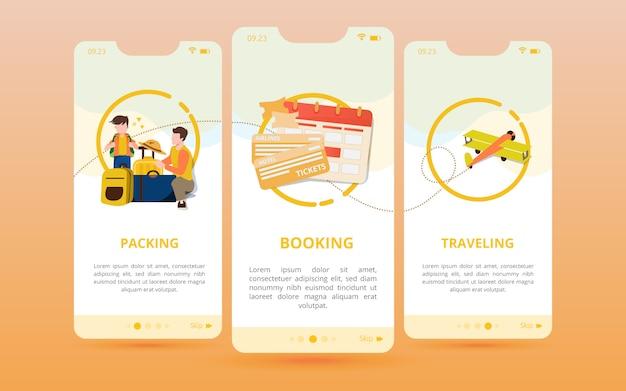 Un set di schermate viene visualizzato con un'icona di preparazione prima del viaggio