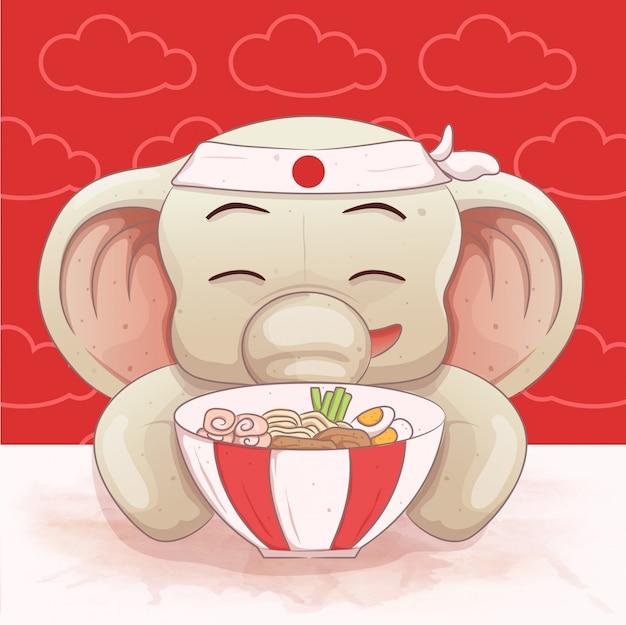 Un simpatico elefante ama mangiare il ramen