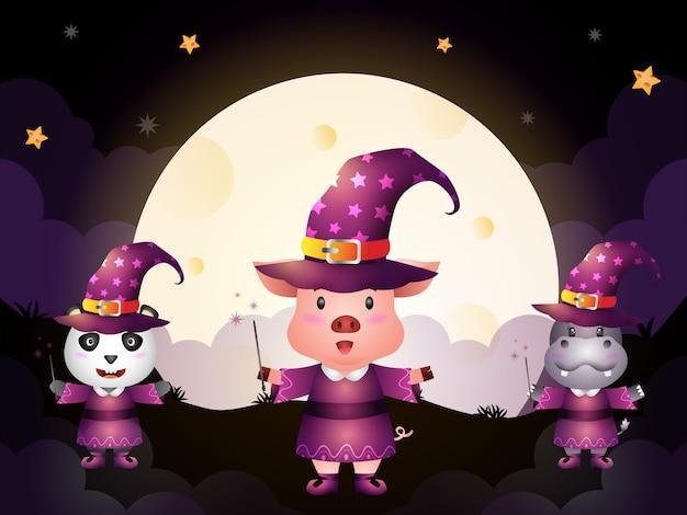 Un simpatico maiale, panda e ippopotamo con il personaggio di halloween della strega in costume su sfondo di luna piena