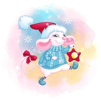 Un simpatico topo bianco con un cappello di babbo natale e un maglione blu lavorato a maglia con stella lanterna di natale