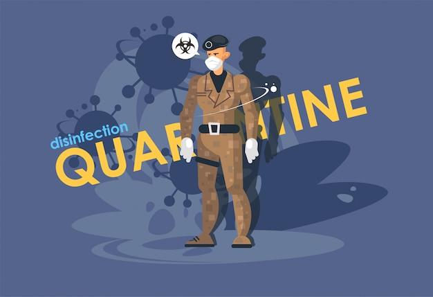 Un soldato in una maschera medica. chiusura delle frontiere, controllo doganale, legge marziale.