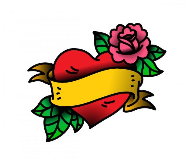 Un tatuaggio cuore e fiore con un fiore