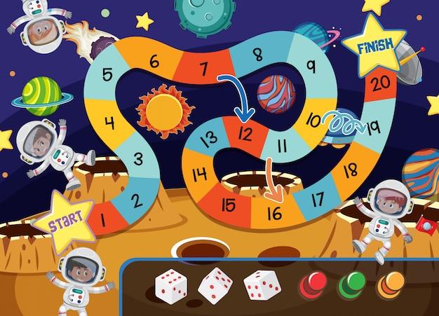 Un tema spaziale di gioco da tavolo