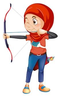 Un tiro con l'arco musulmano su sfondo whiye