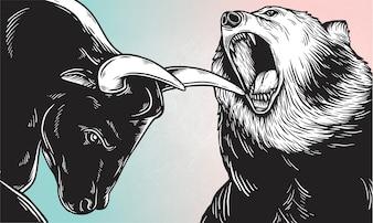 Un toro e un orso che combattono vettore