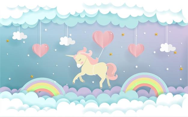 Un unicorno che vola con palloncini cuore