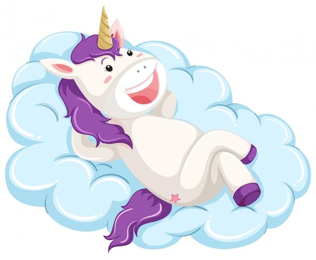 Un unicorno giaceva sul cloud