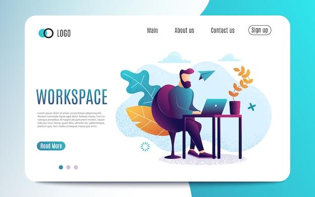Un uomo al lavoro. lavorare su un laptop. stile piatto colorato posto di lavoro. modello di pagina web