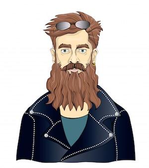 Un uomo barbuto con giacche di pelle nere. motociclista o appassionato di musica rock. illustrazione ritratto, su sfondo bianco.