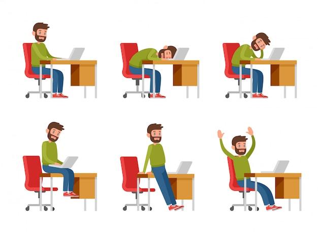 Un uomo barbuto in abiti casual sta lavorando su un computer portatile. il programmatore, il copywriter o il libero professionista siedono alla scrivania. un uomo sul posto di lavoro siede, dorme, annoia, gioisce.