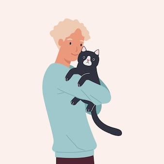 Un uomo che abbraccia il suo simpatico gatto nero. ritratto di felice proprietario dell'animale domestico. illustrazione vettoriale in uno stile piatto