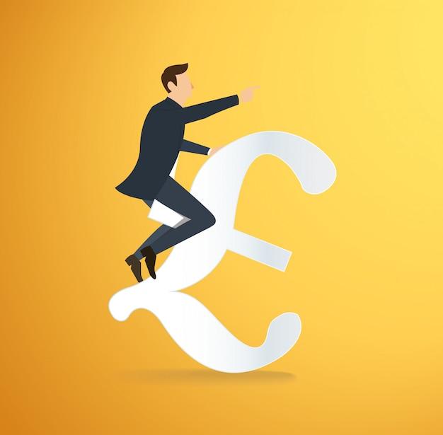 Un uomo che cavalca un'icona dell'euro