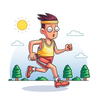 Un uomo che corre nel parco