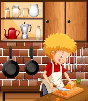 Un uomo che cucina in cucina