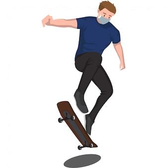 Un uomo che gioca skateboard freestyle mentre si utilizza la maschera medica