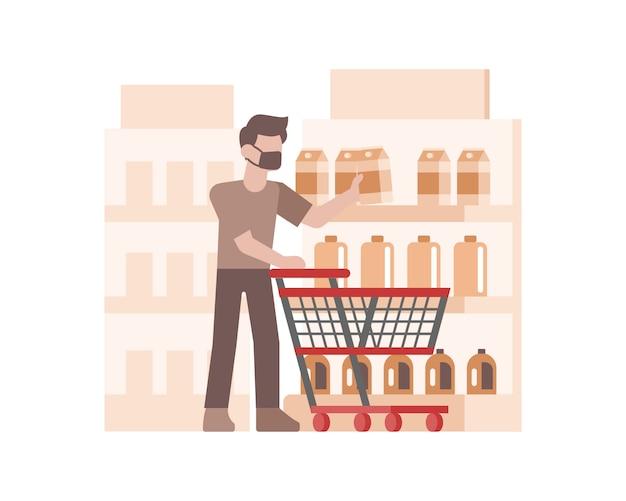 Un uomo che indossa una maschera per il viso e lo shopping nell'illustrazione del supermercato