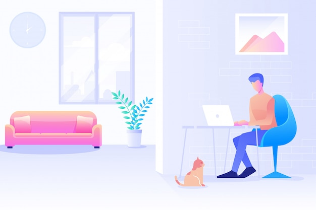 Un uomo che lavora da casa, ufficio a casa, un uomo che utilizza il computer, lo spazio di coworking, un libero professionista che lavora a casa design piatto sfondo vettoriale.