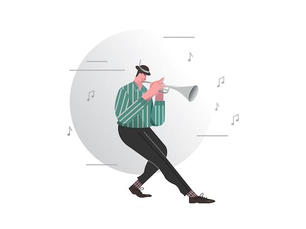 Un uomo che suona la tromba illustrazione vettoriale