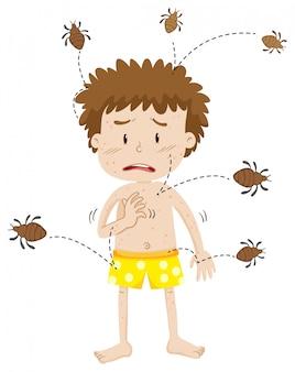Un uomo con allergia agli acari della polvere