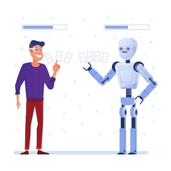 Un uomo con gli occhiali vr gioca a carte in realtà aumentata con un robot.