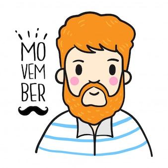 Un uomo con i baffi, il concetto del giorno di movember.