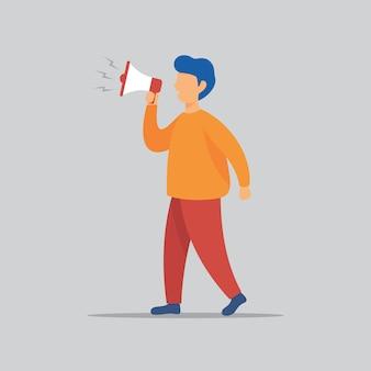 Un uomo con l'illustrazione del megafono